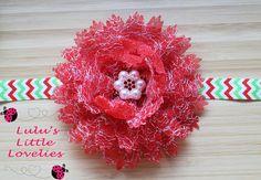 Red Christmas Headband Red Sparkle Flower Snowflake Red Rhinestone Pearl Center Large Flower Clip Headband Winter Newborn - Adult Gift by CLulusLittleLovelies