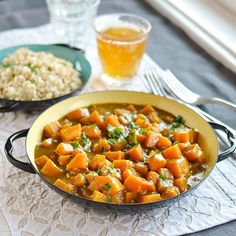 As is for S (I add lentils for protein). Lessen oil and use lite coconut milk and serve with brown rice for E. Yummy!  Recipe: Butternut Squash & Coconut Curry — Recipes from The Kitchn