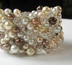 Extra Wide Hand Knit CHOCOLATE PEARL MOUSSE, Crystal Bridal  Statement Cuff  Bracelet -  Champagne, Ivory, White, Cocoa Brown, Fresh Water. $76.00, via Etsy.