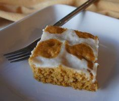 Carrot Pumpkin Bars Recipe - warm and cinnamony bars that are sure to please.