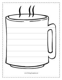 """""""The COCOA CUP"""" The coffee cup in this free, printable writing template might be filled with steaming tea or hot cocoa, but on the outside it has seven lines for practicing handwriting and penmanship. Mug Template, Templates Printable Free, Free Printables, Writing Template, Card Templates, Cocoa Party, Coffee Theme, Coffee Cards, Patch Aplique"""