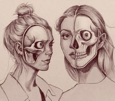 Skull studies, these were fun to do but turned out a little creepy :)