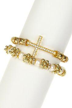 Gold Baubles & Cross Bracelet Set by t+j Designs