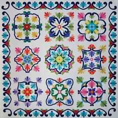 "Fiesta de Talavera Block of the Month ""White Background  We have this pattern-gorgeous www.quiltnbee.biz/shop"