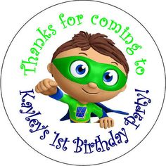 SuperWhy Super why Birthday Party Stickers 2.5 inch by 4fourbergs