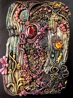 Enchanted Wood Polymer Clay Journal by ~RoyalKitness by jenifer Polymer Clay Painting, Polymer Clay Kunst, Fimo Clay, Polymer Clay Projects, Polymer Clay Creations, Polymer Clay Jewelry, Polymer Journal, Polymer Clay Steampunk, Enchanted Wood