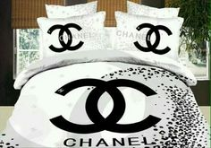 45 Nice Bedroom Inspired By Chanel - Decorating bedrooms is really really straightforward and enjoyable. Ideally, receive a wooden bed and paint the bed frame with exactly the same shade . by Joey Chanel Bedding, Chanel Bedroom, Luxury Bedding, Queen Size Comforter Sets, 3d Bedding Sets, Duvet Bedding, Bedroom Furniture, Bedroom Decor, Decorating Bedrooms