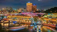 The colourful night lights of CLARKE QUAY of Singapore by allanaespolong1
