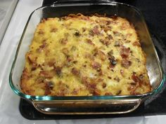 Make in a dish instead. Easy and quick bacon potato casserole Bacon Potato Casserole, Bacon Hash, Hash Brown Casserole, Casserole Dishes, Spagetti Recipe, Lasagna, New Recipes, Macaroni And Cheese, Minden