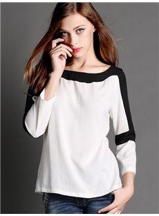 2016早春  綺麗目ファッション 黒白切り替えTシャツ