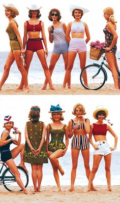 "funnster: "" Hit the Beach in Teen Designs. Sunday Mirror Magazine, May Beach Outfits, funnster: "" Hit the Beach in Teen Designs. Sunday Mirror Magazine, May 1963 "" ♥ ♥ ♥. 60s And 70s Fashion, Retro Fashion, Girl Fashion, Vintage Fashion, Beach Fashion, 50 Fashion, Fashion Styles, Fashion Dresses, Mode Pin Up"