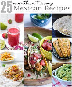 25 Mouthwatering Mexican Food Recipes. Salsa. Fajitas. Margaritas. Fish Tacos. Homemade Tortillas! Its the mother load of Mexican Recipes! | joyfulhealthyeats.com