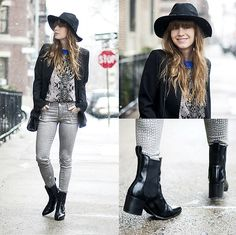 True Religion Print Jean, Buffalo Jeans Blazer, Asos Chelsea Boots, Nasty Gal Hat, Coach Crossbody Bag