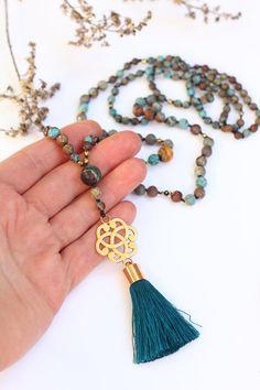 Boho Turquoise Necklace Jasper Birthstone Long Gemstone image 1
