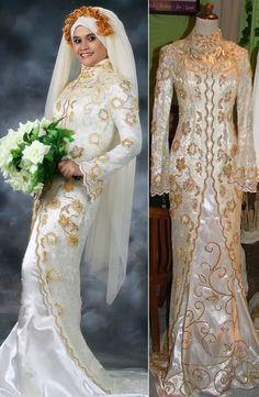 THE BRIDE WEARS HIJAB Split Coat Arab Wedding Dress Weddings of