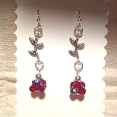 German silver vine with Ruby red round Czech glass earrings.  Matching bracelet not pictured.  HAPPY BIRTHDAY GABY!!!