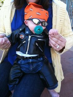I got ta get me one of these! Motorcycle Baby, Biker Baby, Motorcycle Nursery, Baby Costumes For Boys, Baby Halloween Costumes, Boy Halloween, Cute Kids, Cute Babies, Baby Kids