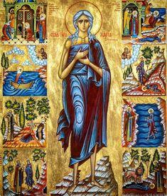 Santa Maria, Byzantine Icons, Byzantine Art, St Mary Of Egypt, Egypt Crafts, Holy Mary, Religious Images, Orthodox Christianity, Orthodox Icons