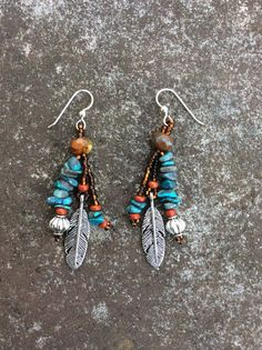 Southwest Earrings - Turquoise Nuggets - Feather Dangles - Native American Inspired Earrings