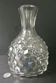 "Rare Vintage FOSTORIA Elegant Glass AMERICAN Pattern 9"" Tall Water Bottle Carafe"