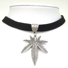 Black Gothic Faux Suede Cord Marijuana Weed Leaf Charm Pendant Necklace Choker #Unbranded #Choker
