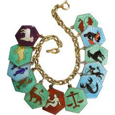 David Andersen Sterling Silver and Guilloche Enamel Zodiac Charm Bracelet