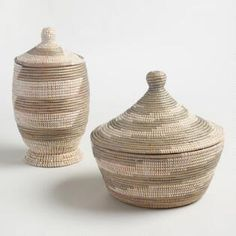 Gray and White Senegalese Lidded Baskets