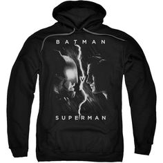 Batman v Superman Face to Face Pullover Hooded Sweatshirt ($40) ❤ liked on Polyvore featuring tops, hoodies, hoodie top, pullover hoodie, superman pullover, superman hoodie and hoodie pullover