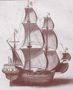Frégate marchande de la fin du XVII ème siècle, Album de Jouve Ship Of The Line, Vintage Boats, Le Havre, Tall Ships, 17th Century, Golden Age, Marines, Sailing Ships, Nautical