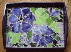 x Purple wooden frame tray with stained glass mosaic inlay. As one of my biggest 'fans' remarked this is vintage glassjan. This is the type of thing I started with years ago and they still remain a favorite to create. Mosaic Crafts, Mosaic Projects, Stained Glass Projects, Stained Glass Patterns, Mosaic Patterns, Art Projects, Mosaic Flower Pots, Mosaic Pots, Mosaic Garden
