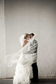 Bride and Groom Behind Veil Photo ♥ Creative Wedding Photo Idea