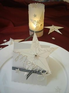 Stampin' Up! Christmas Star table decor - CANDLE JAR WRAP WITH VELLUM