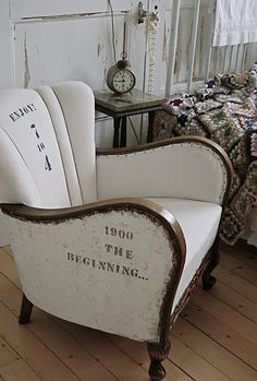 Wonderful use of printed material as upholstery.. or is it hand painted linen after the fact?..