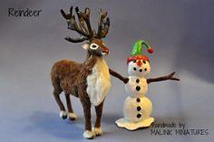 Dollhouse Miniature Realistic Handmade Reindeer OOAK - Malinik Miniatures