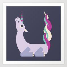 Letter U // Animal Alphabet // Unicorn Art Print by Jen Montgomery - $20.00