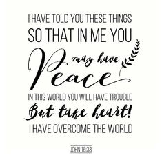 """""""I have said these things to you, that in me you may have peace. In the world you will have tribulation. But take heart; I have overcome the world."""""""" (John 16:33 ESV) Something in…"""