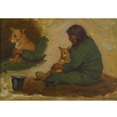 Artwork by Joseph Henry Sharp, Seated Indian with Dog, Made of Oil on canvas kp