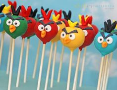 angry birds themed birthday party dessert table cake pops look like bird characters
