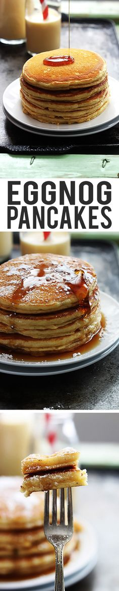 Easy, fluffy eggnog pancakes topped with syrup and powdered sugar.