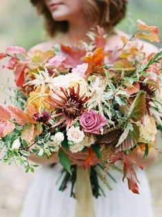 Fall inspired wedding bouquet: http://www.stylemepretty.com/oregon-weddings/portland/2016/11/23/autumn-fall-wedding-inspiration/ Photography: Jamie Rae - http://jamieraephoto.com/