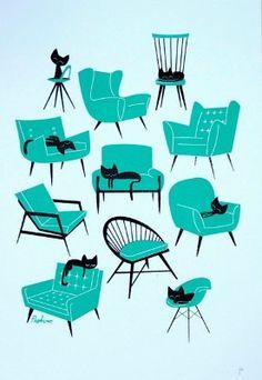 """Cat Naps"" by Peskimo. #retro #vintage #chairs #art #cats #cute"