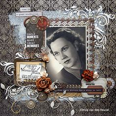 Emilia van den Heuvel: Time is a Storyteller {Kaisercraft & Merly Impressions} Heritage Scrapbook Pages, Love Scrapbook, Scrapbook Page Layouts, Scrapbook Albums, Scrapbook Paper, Scrapbook Examples, Scrapbooking Vintage, Creative Memories, Photo Layouts