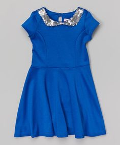 Look what I found on #zulily! Royal Sequin Skater Dress - Girls #zulilyfinds