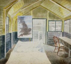 The Operations Room by Eric Ravilious 1942 ( RAF Sawbridgeworth, Hertfordshire. New Artists, British Artists, Cool Artwork, Painting Inspiration, Painting & Drawing, Printmaking, Illustrators, Illustration Art, Art Prints