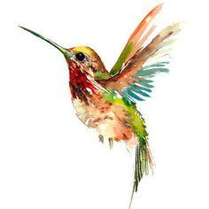 Cool Watercolor Hummingbird Tattoo Design
