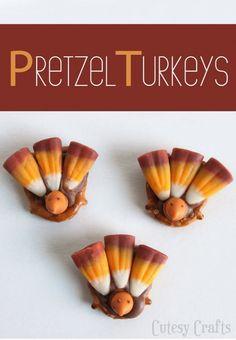 Pretzel Turkeys - Cutesy Crafts