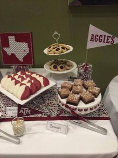 Graduation party décor dessert table Texas A&M www.inspiredoccasionssa.com