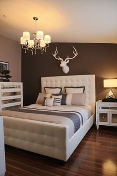 Our West Street Bed, Concerto collection, and Fauxidermy Deer Head ad chic, crisp charm to this bedroom by josh_io on houzz.