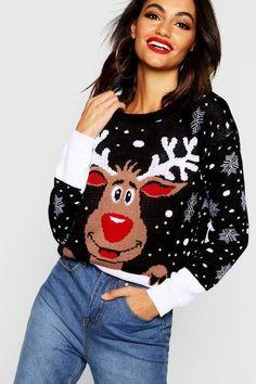 029d296e25 boohoo Reindeer Christmas Jumper Christmas sweater Reindeer Christmas Jumper