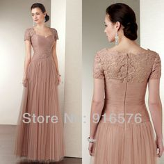 tulle wedding dresses mother of the bride gown 2013 party dress short sleeve lace a line long floor length sweep zipper